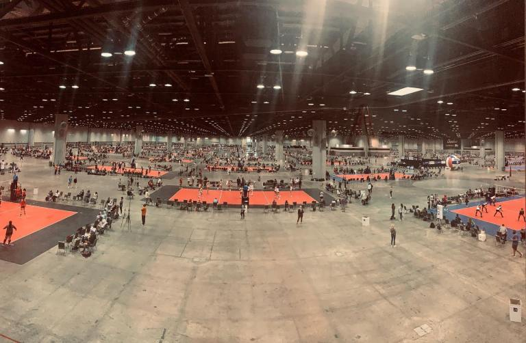 Physically distanced volleyball courts at the AAU National Volleyball Championship hosted at the OCCC
