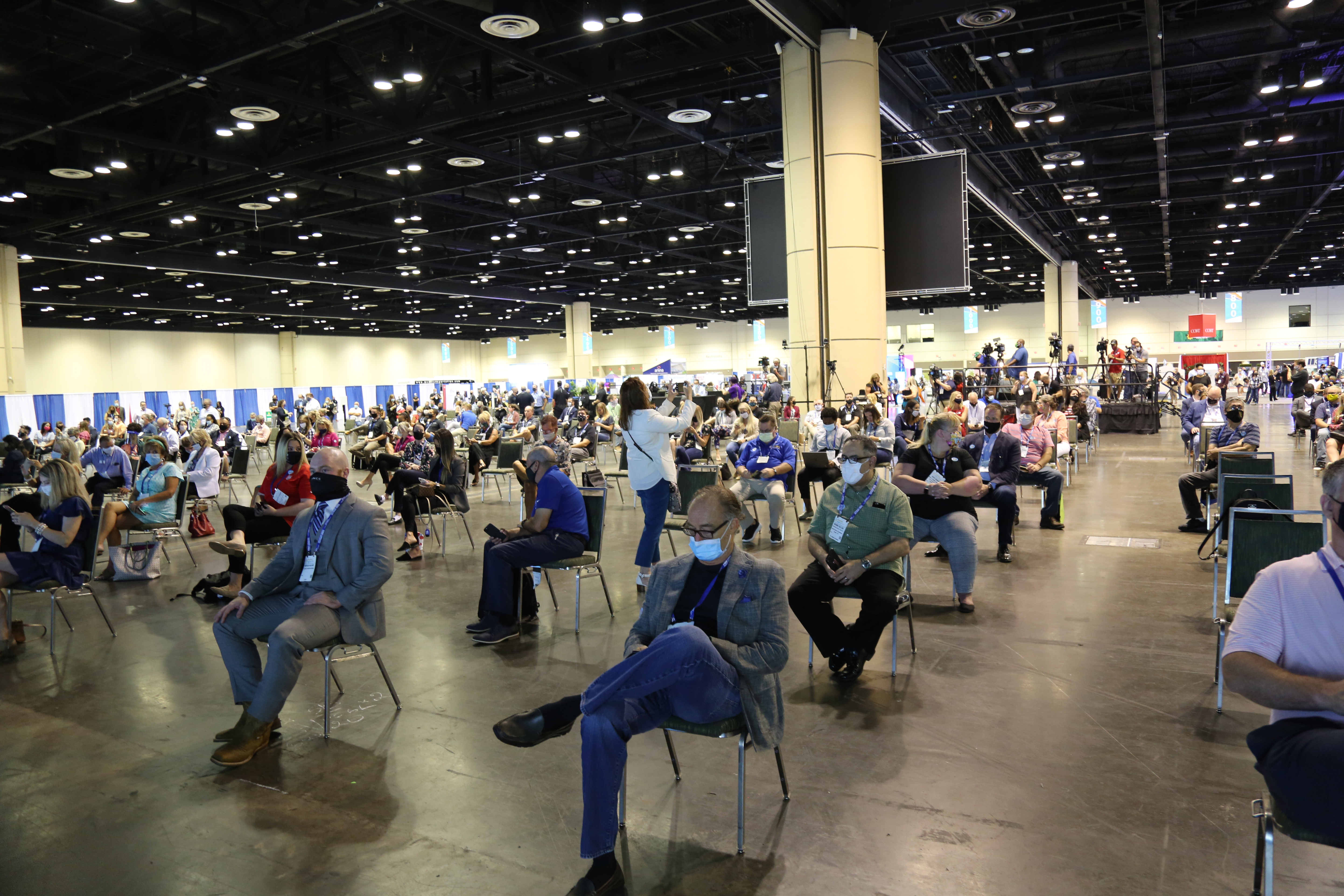 Physically distanced seating in the General Session Area at the Together Again Expo
