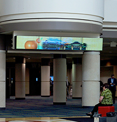 Digital sign above pillars