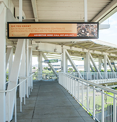 Static sign above walkway outside